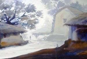 """Early Morning Bengal Village"" Watercolor Painting by Samiran Sarkar"