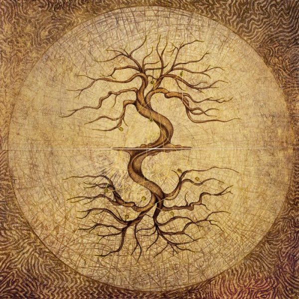 """Karmic"" is a painting by Horacio Cardozo. Its main concept depicts our past and present lives as a continuum of cosmic energy represented by the interconnected trees. They keep bound by a thin golden string that runs across ten pulleys hanging on both trees which represent the tension of causes and effects throughout our lives."