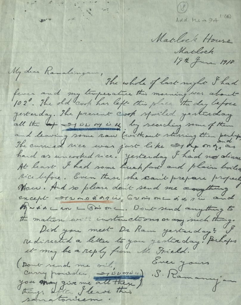 letter from Ramanujan to friend. Courtesy: Trinity College Cambridge.