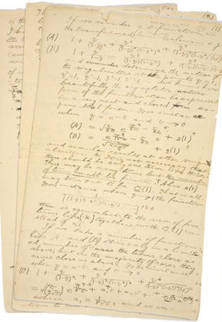 Pages from one of Ramanujan's last letters.