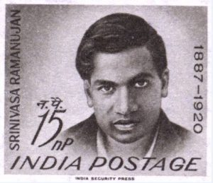 Ramanujan commemorative postage stamp issued in India in 1962