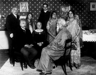 Albert Einstein, his wife Elsa and his stepdaughter Margot with Rabindranath Tagore, Pratima Devi, Tagore's daughter-in-law, and Professor and Mrs. Mahalanobis in Berlin, 1930